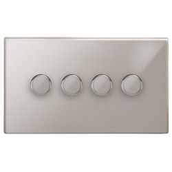 Focus SB Morpheus MPS21.4 4 gang 2 way 250W (mains and low voltage) dimmer in Polished Stainless