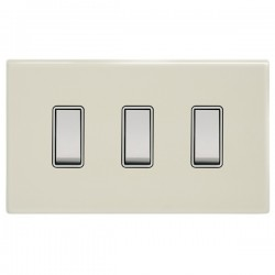 Focus SB Morpheus MPW10.3W 3 gang 20 amp 2 way rocker switch in Primed White with white inserts