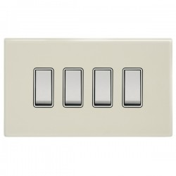 Focus SB Morpheus MPW10.4W 4 gang 20 amp 2 way rocker switch in Primed White with white inserts