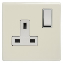 Focus SB Morpheus MPW17.1W 1 gang 13 amp switched socket in Primed White with white inserts
