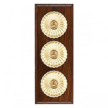 Hamilton Bloomsbury Ovolo Antique Mahogany Fluted Polished Brass 3 Gang 2 Way Toggle with Black Insert