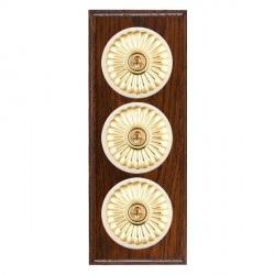 Hamilton Bloomsbury Ovolo Antique Mahogany Fluted Polished Brass 3 Gang 2 Way Toggle with White Insert