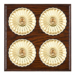 Hamilton Bloomsbury Ovolo Antique Mahogany Fluted Polished Brass 4 Gang 2 Way Toggle with Black Insert