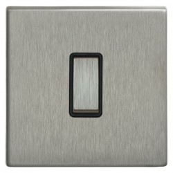 Focus SB Morpheus MSS11.1B 1 gang 20 amp 2 way rocker switch in Satin Stainless with black inserts