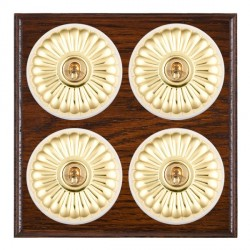 Hamilton Bloomsbury Ovolo Antique Mahogany Fluted Polished Brass 4 Gang 2 Way Toggle with White Insert