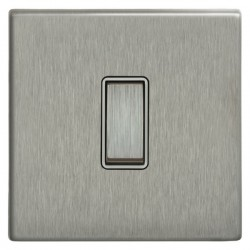 Focus SB Morpheus MSS11.1W 1 gang 20 amp 2 way rocker switch in Satin Stainless with white inserts
