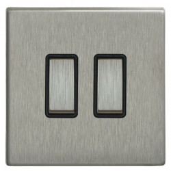 Focus SB Morpheus MSS11.2B 2 gang 20 amp 2 way rocker switch in Satin Stainless with black inserts