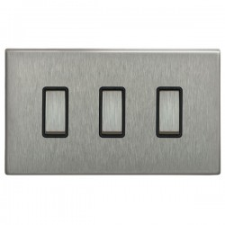 Focus SB Morpheus MSS11.3B 3 gang 20 amp 2 way rocker switch in Satin Stainless with black inserts