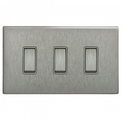 Focus SB Morpheus MSS11.3W 3 gang 20 amp 2 way rocker switch in Satin Stainless with white inserts