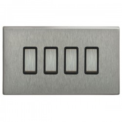 Focus SB Morpheus MSS11.4B 4 gang 20 amp 2 way rocker switch in Satin Stainless with black inserts