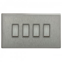 Focus SB Morpheus MSS11.4W 4 gang 20 amp 2 way rocker switch in Satin Stainless with white inserts