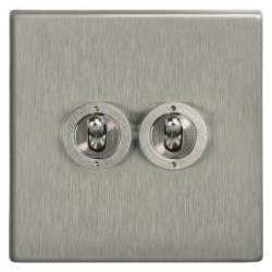 Focus SB Morpheus MSS14.2 2 gang 20 amp 2 way toggle switch in Satin Stainless
