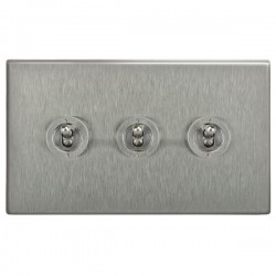 Focus SB Morpheus MSS14.3 3 gang 20 amp 2 way toggle switch in Satin Stainless