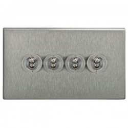 Focus SB Morpheus MSS14.4 4 gang 20 amp 2 way toggle switch in Satin Stainless