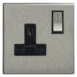 Focus SB Morpheus MSS18.1B 1 gang 13 amp switched socket in Satin Stainless with black inserts