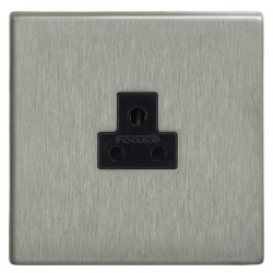 Focus SB Morpheus MSS19.1B 1 gang 2 amp unswitched socket in Satin Stainless with black inserts