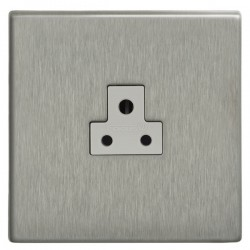 Focus SB Morpheus MSS19.1W 1 gang 2 amp unswitched socket in Satin Stainless with white inserts