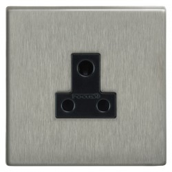 Focus SB Morpheus MSS20.1B 1 gang 5 amp unswitched socket in Satin Stainless with black inserts