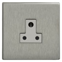 Focus SB Morpheus MSS20.1W 1 gang 5 amp unswitched socket in Satin Stainless with white inserts