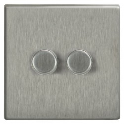 Focus SB Morpheus MSS21.2 2 gang 2 way 250W (mains and low voltage) dimmer in Satin Stainless