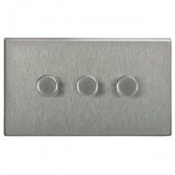 Focus SB Morpheus MSS21.3 3 gang 2 way 250W (mains and low voltage) dimmer in Satin Stainless