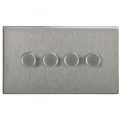 Focus SB Morpheus MSS21.4 4 gang 2 way 250W (mains and low voltage) dimmer in Satin Stainless