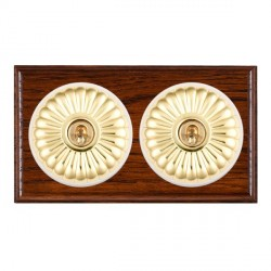 Hamilton Bloomsbury Ovolo Antique Mahogany Fluted Polished Brass 2 Gang Intermediate Toggle with White In...