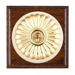 Hamilton Bloomsbury Ovolo Antique Mahogany Fluted Polished Brass 1 Gang Double Pole Toggle with White Ins...