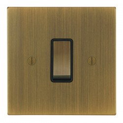 Focus SB Ambassador Square Corners NAAB11.1B 1 gang 20 amp 2 way rocker switch in Antique Brass with black inserts