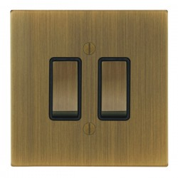 Focus SB Ambassador Square Corners NAAB11.2B 2 gang 20 amp 2 way rocker switch in Antique Brass with black inserts