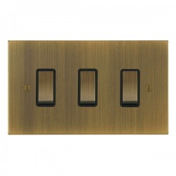 Focus SB Ambassador Square Corners NAAB11.3B 3 gang 20 amp 2 way rocker switch in Antique Brass with black inserts