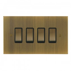Focus SB Ambassador Square Corners NAAB11.4B 4 gang 20 amp 2 way rocker switch in Antique Brass with black inserts