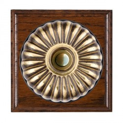 Hamilton Bloomsbury Ovolo Antique Mahogany Fluted Antique Brass Bell Push Toggle with Black Insert