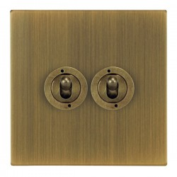Focus SB Ambassador Square Corners NAAB14.2 2 gang 20 amp 2 way toggle switch in Antique Brass