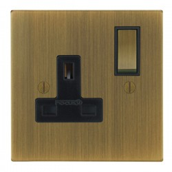 Focus SB Ambassador Square Corners NAAB18.1B 1 gang 13 amp switched socket in Antique Brass with black in...