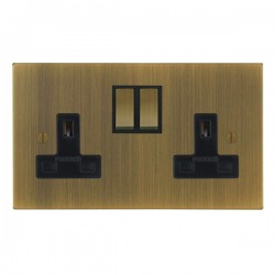 Focus SB Ambassador Square Corners NAAB18.2B 2 gang 13 amp switched socket in Antique Brass with black in...