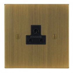 Focus SB Ambassador Square Corners NAAB19.1B 1 gang 2 amp unswitched socket in Antique Brass with black i...