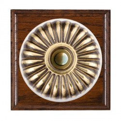 Hamilton Bloomsbury Ovolo Antique Mahogany Fluted Antique Brass Bell Push Toggle with White Insert
