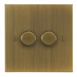 Focus SB Ambassador Square Corners NAAB21.2 2 gang 2 way 250W (mains and low voltage) dimmer in Antique B...