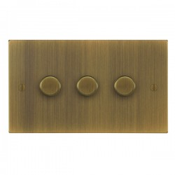 Focus SB Ambassador Square Corners NAAB21.3 3 gang 2 way 250W (mains and low voltage) dimmer in Antique B...