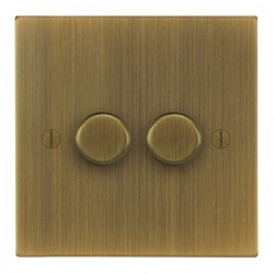 Focus SB Ambassador Square Corners NAAB22.2 2 gang 2 way 400W (mains and low voltage) dimmer in Antique B...