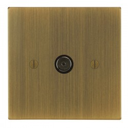 Focus SB Ambassador Square Corners NAAB23.1 1 gang isolated co-axial TV socket in Antique Brass