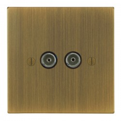 Focus SB Ambassador Square Corners NAAB23.2 2 gang isolated co-axial TV socket in Antique Brass