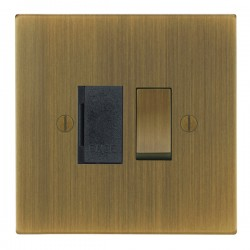 Focus SB Ambassador Square Corners NAAB26.1B 13 amp switched fuse spur in Antique Brass with black insert...