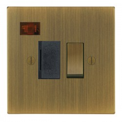Focus SB Ambassador Square Corners NAAB27.1B 13 amp switched fuse spur with neon in Antique Brass with bl...