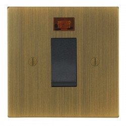Focus SB Ambassador Square Corners NAAB33.1B/SML 45 amp cooker control switch with neon in Antique Brass