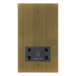 Focus SB Ambassador Square Corners NAAB36.1B shaver socket (110/240V) in Antique Brass with black inserts