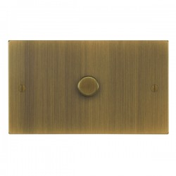 Focus SB Ambassador Square Corners NAAB43.1 1 gang 700w low voltage, 1000w mains voltage dimmer in Antique Brass