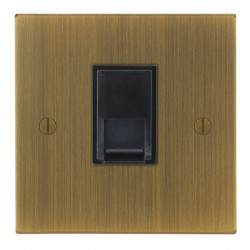 Focus SB Ambassador Square Corners NAAB51.1B 1 gang CAT5 RJ45 socket in Antique Brass with black inserts