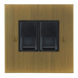 Focus SB Ambassador Square Corners NAAB51.2B 2 gang CAT5 RJ45 socket in Antique Brass with black inserts